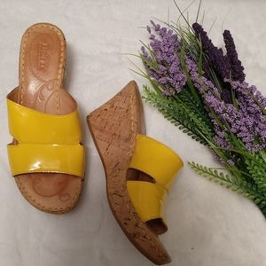 BORN Yellow Leather Slide Wedges sz 8